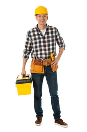 Handsome carpenter with tool box isolated on white