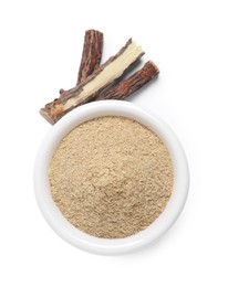 Powder in bowl and dried sticks of liquorice root on white background, top view