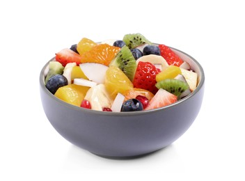 Fresh delicious fruit salad in bowl on white background