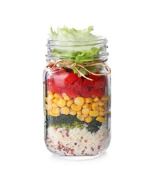 Glass jar with healthy meal isolated on white