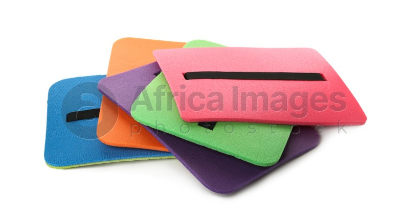 Bright foam tourist seat mats isolated on white