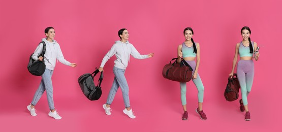 Young woman with sports bag on pink background, collage. Banner design