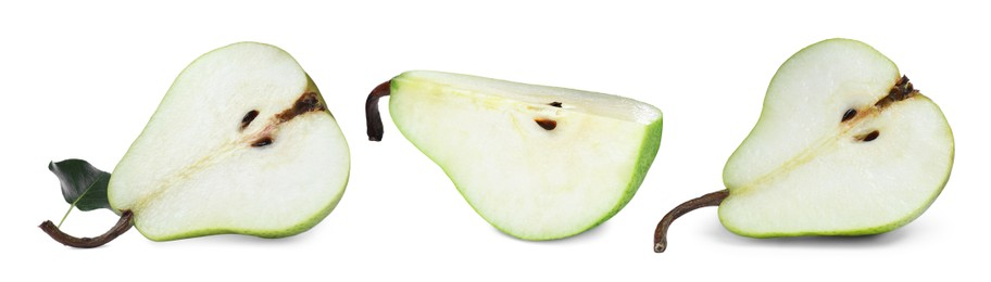 Set with tasty ripe pears on white background. Banner design