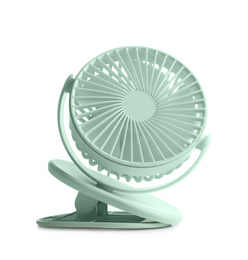 Portable fan isolated on white. Summer heat