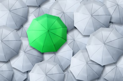 Green umbrella standing out of other ones, top view