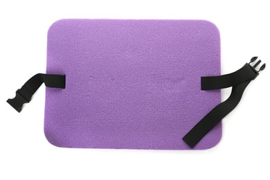 Violet foam seat mat for tourist isolated on white, top view