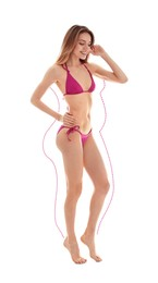 Young slim woman in bikini after weight loss on white background. Healthy diet