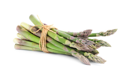 Bunch of fresh raw asparagus isolated on white. Healthy eating
