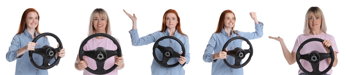 Emotional women with steering wheels on white background, collage. Banner design