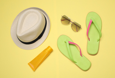 Flat lay composition with beach objects on background