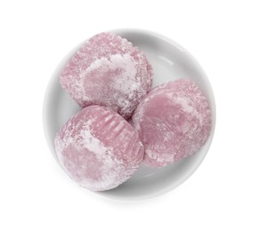 Plate with delicious mochi on white background, top view. Traditional Japanese dessert