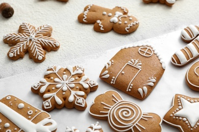 Delicious homemade Christmas cookies on table, closeup