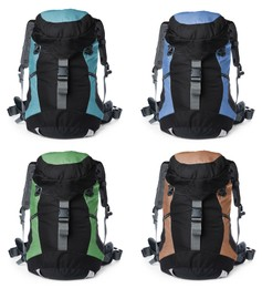 Different hiking backpacks on white background, collage