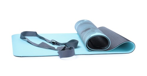 Light blue camping mat with strap isolated on white