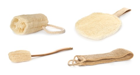 Set with natural shower loofah sponges and brush on white background