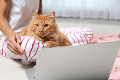Woman with cute red cat and laptop at home, closeup view. Space for text