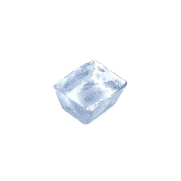 Crystal clear ice cube isolated on white