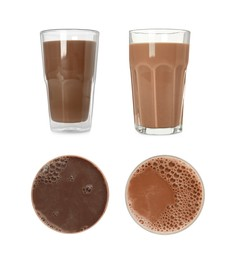 Set with delicious chocolate milk on white background