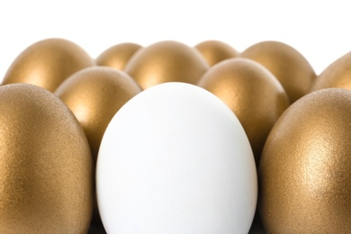 Golden eggs with different one on white background
