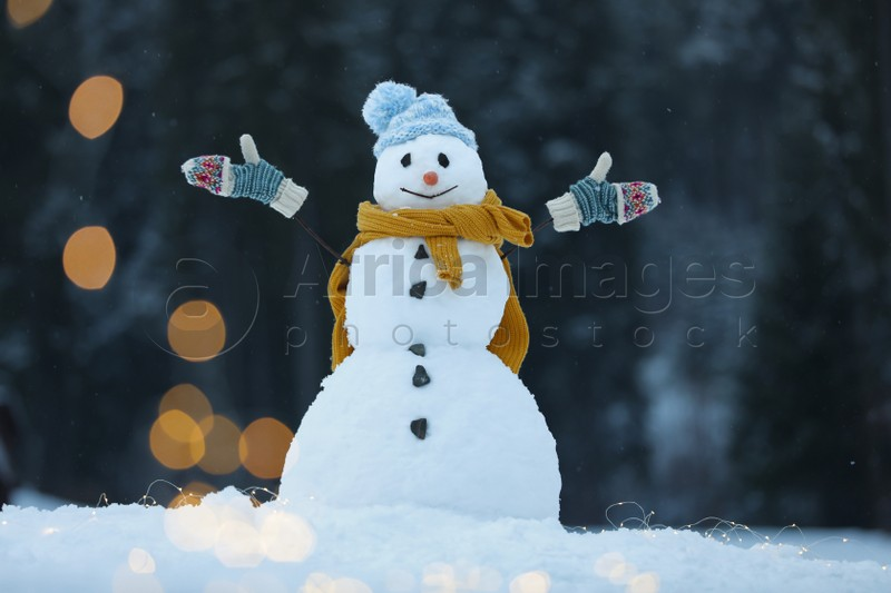Adorable smiling snowman with Christmas lights outdoors on winter day