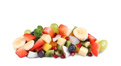 Delicious salad of different fruits on white background