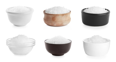 Set with natural sea salt on white background. Banner design