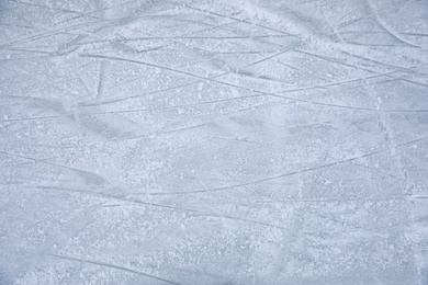 Traces left by figure skate blades on ice. Winter outdoors activities