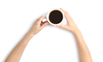 Woman holding cup of coffee on white background, top view
