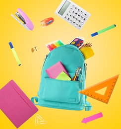 Backpack surrounded by flying school stationery on yellow background