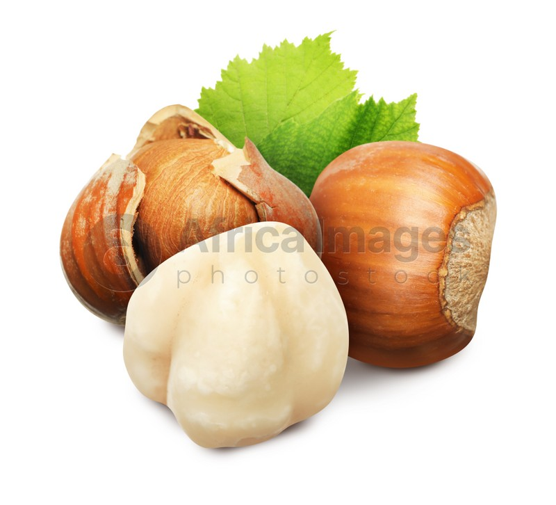 Tasty hazelnuts and green leaves on white background