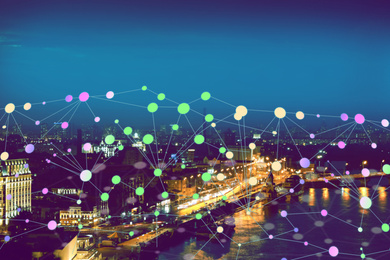 Futuristic communication technology concept. City covered with digital network
