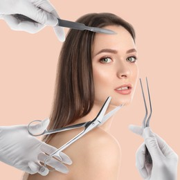 Doctors with different instruments and young woman on beige background, collage. Concept of plastic surgery
