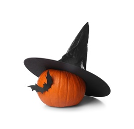 Orange pumpkin with witch hat and black paper bat isolated on white. Halloween decor