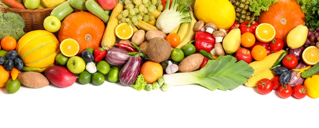 Assortment of fresh organic fruits and vegetables on white background, top view. Banner design