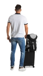 Man with suitcase and backpack for vacation trip on white background, back view. Summer travelling