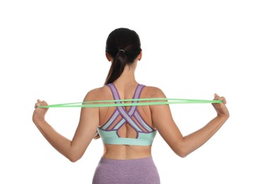 Woman doing sportive exercise with fitness elastic band on white background, back view