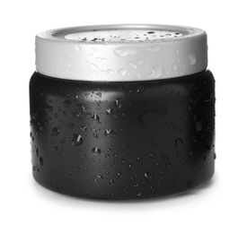 Black jar with water drops isolated on white. Men's cosmetics
