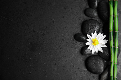 Stones, bamboo, lotus flower and space for text on wet black background, flat lay. Zen lifestyle