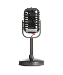 Vintage microphone isolated on white. Journalist's equipment