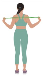 Woman doing exercise with fitness elastic band on white background. Vector illustration