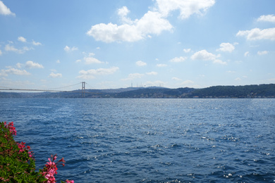 Beautiful view of sea and blue sky on sunny day