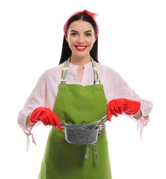 Young housewife with saucepan and whisk on white background