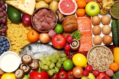 Different products as background, top view. Healthy food and balanced diet