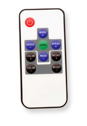 Modern lighting remote control isolated on white, top view