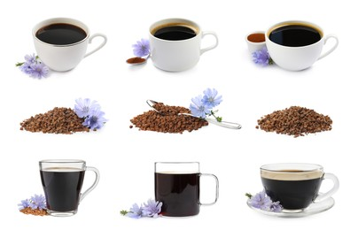 Set with chicory drink and granules on white background
