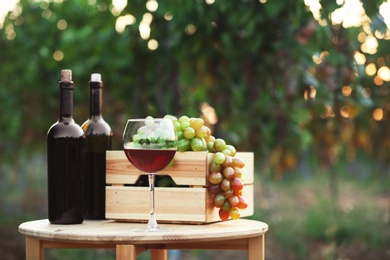 Bottles and glass of red wine with fresh grapes on wooden table in vineyard