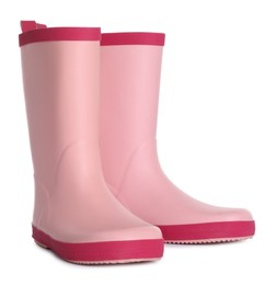 Modern pink rubber boots isolated on white