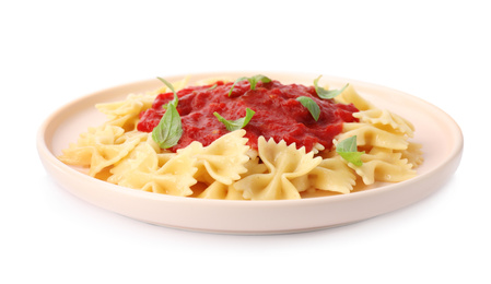 Tasty pasta with tomato sauce and basil isolated on white
