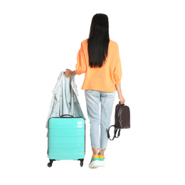 Beautiful woman with suitcase and backpack for summer trip on white background, back view. Vacation travel