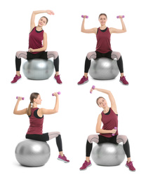Collage of woman with fitball doing exercises on white background